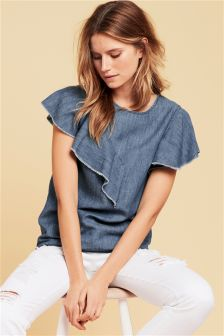 Light Blue Ruffle Tencel® Rich Top