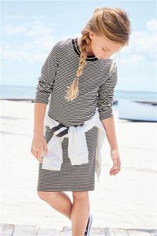 Black/White Stripe Long Sleeve Rib Dress (3-16yrs)