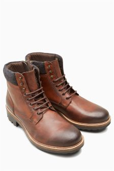 Tan Burnished Leather Heavy Cleated Boot