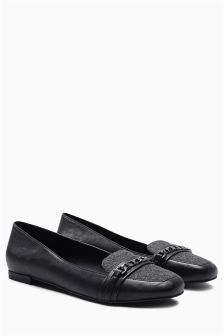 Chain Square Toe Loafers