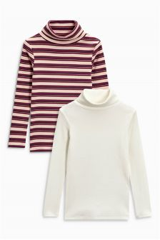 Pink And White Stripe Long Sleeve Rib Roll Neck Two Pack (3-16yrs)