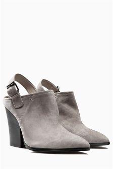 Grey Suede Slingback Mules