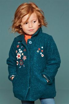 Teal Embroidered Wool Mix Jacket (3mths-6yrs)