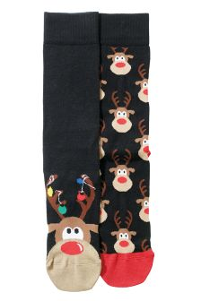 Black Rudolph Socks Two Pack