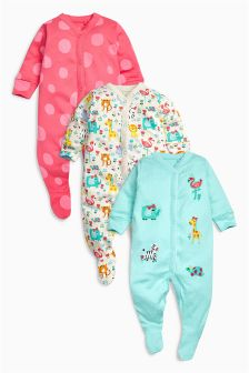 Oatmeal Animal Sleepsuits 3 Pack (0mths-2yrs)