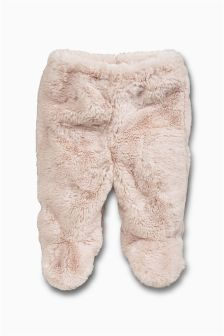 Pink Furry Leggings (0-9mths)
