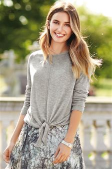 Tie Front Sparkle Sweater