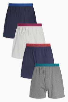 Mixed Base Bright Waistband Loose Fit Boxers Four Pack