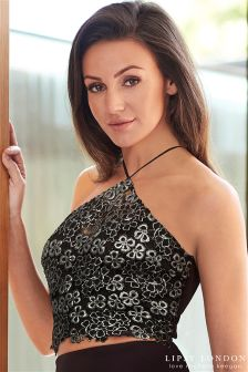 Lipsy Love Michelle Keegan Co-Ord Foil Lace Halter Crop Top