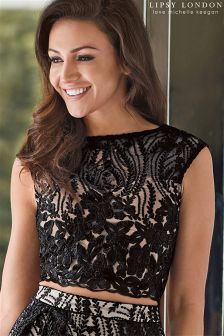 Lipsy Love Michelle Keegan Co-ord Embroidered Lace Crop Top