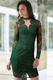 Lipsy Love Michelle Keegan Lace Choker Scallop Dress