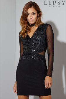 Lipsy Long Sleeve Choker Sequin Bodycon Dress