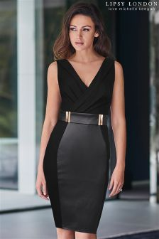 Lipsy Love Michelle Keegan Wrap PU Hem Dress
