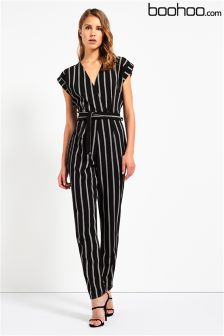 Boohoo Striped Wrap Front Jumpsuit