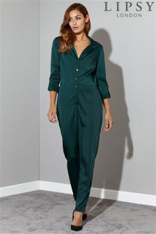 Lipsy Satin Button Front Jumpsuit