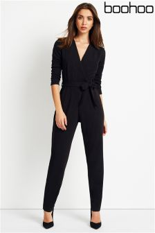 Boohoo Long Sleeve Wrap Front Jumpsuit