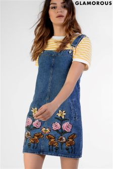 Glamorous Embroidered Pinafore Dress