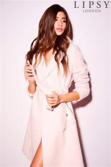 Lipsy Wool Rib Wrap Coat