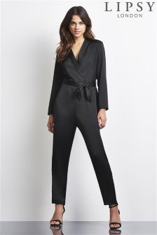 Lipsy Satin Long Sleeve Jumpsuit