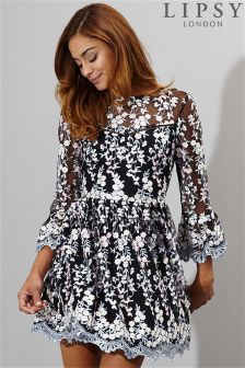 Lipsy Embroidered Bell Sleeve Skater Dress
