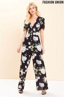 Fashion Union Floral Print Jumpsuit