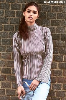Glamorous Pleated High Neck Top