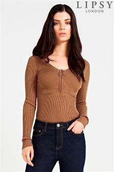 Lipsy Ribbed Lace-up Jumper