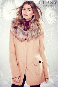 Lipsy Faux Fur Collar Coat