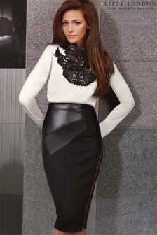 Lipsy Love Michelle Keegan PU Panel Pencil Skirt