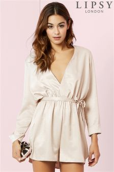 Lipsy Satin Long Sleeve Playsuit