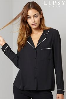 Lipsy Pyjama Inspired Black Shirt