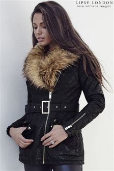 Lipsy Love Michelle Keegan Faux Fur Collar Leather Look Biker Jacket