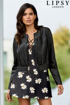 Lipsy Faux Leather Fringe Jacket