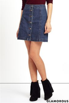 Glamorous Button Up Denim Skirt
