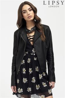 Lipsy Stitch Detail Faux Leather Jacket