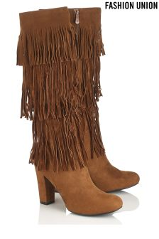 Fashion Union Fringe Knee High Boots