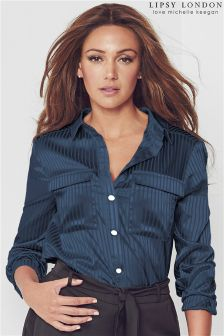 Lipsy Love Michelle Keegan Satin Stripe Shirt