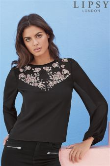 Lipsy Embroidered Bell Sleeve Blouse