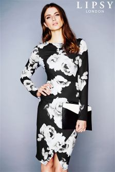 Lipsy Floral Long Sleeve Asymmetric Dress