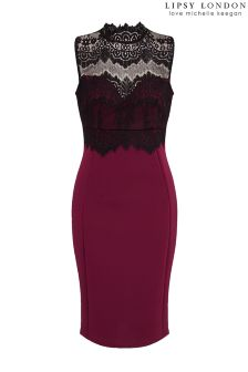 Lipsy Love Michelle Keegan Lace High Neck Bodycon Dress