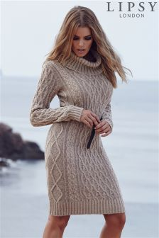 Lipsy Cable Knit Cowl Neck Dress