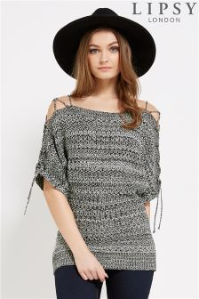 Lipsy Lace Shoulder Tweed Jumper