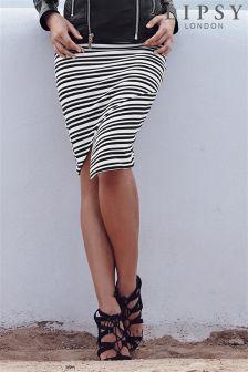 Lipsy Stripe Wrap Pencil Skirt