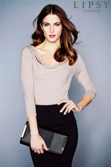 Lipsy Cowl Lace Back Top