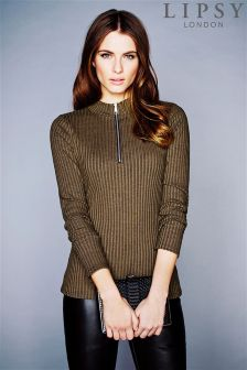 Lipsy Ribbed High Neck Zip Top