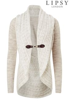 Lipsy Pointelle Shawl Buckle Cardigan