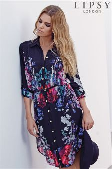 Lipsy Floral Belted Shirt Dress