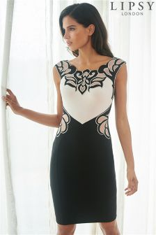 Lipsy Contrast Embroidered Bodycon Dress