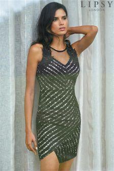 Lipsy Lace Trim Asymmetric Dress