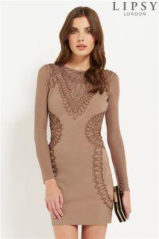 Lipsy Long Sleeve Cornelli Bodycon Dress